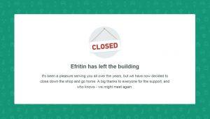 Efrintin- we are closed